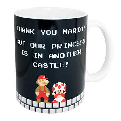Super Mario Bros. Black Thank You Mario Ceramic Coffee Mug