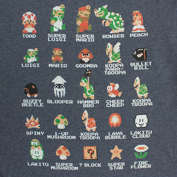 Nintendo Mario Pixel Cast Heather Navy Blue T-Shirt
