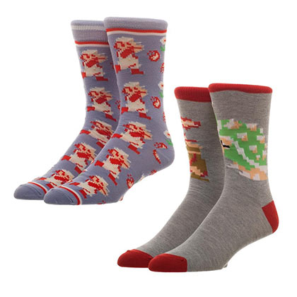 Super Mario Bros 2 Pack Men's Grey Crew Socks