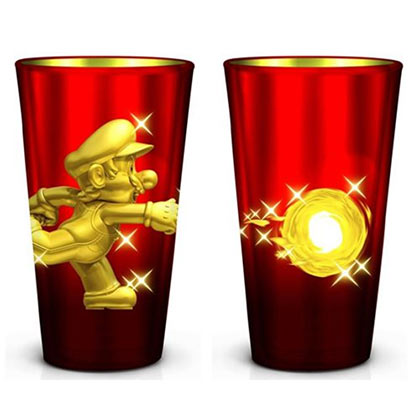 Nintendo Mario Fireball Metallic Pint Glass