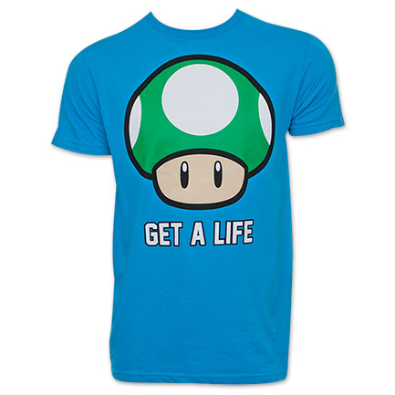 Nintendo Blue Get A Life Mushroom T-Shirt