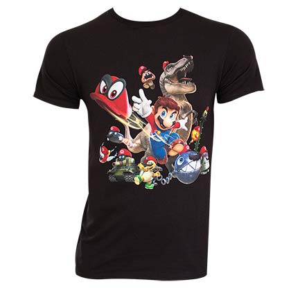 Super Mario Odyssey Hats Black Tee Shirt