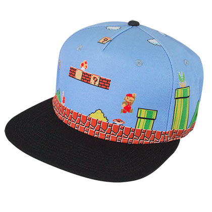 Super Mario Bros Blue Snapback Hat