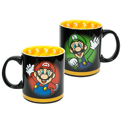 Nintendo Black Mario And Luigi Coffee Mug