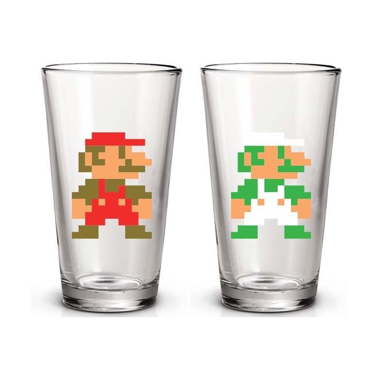 Super Mario Bros. Mario & Luigi Pint Glass Set Of 2