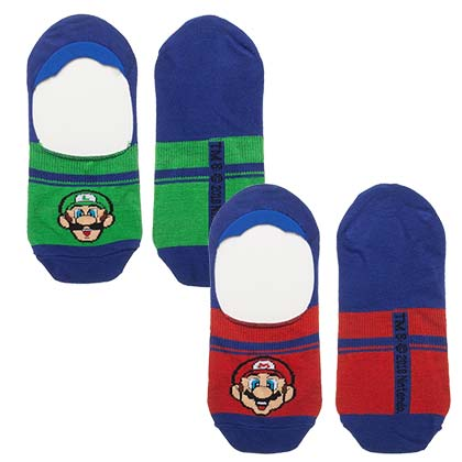 Super Mario Bros Luigi Men's Athletic Liner Socks Set of 2