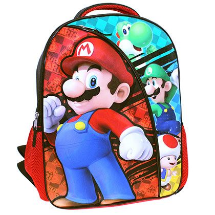 Super Mario Bros 16 Inch Red Black Backpack