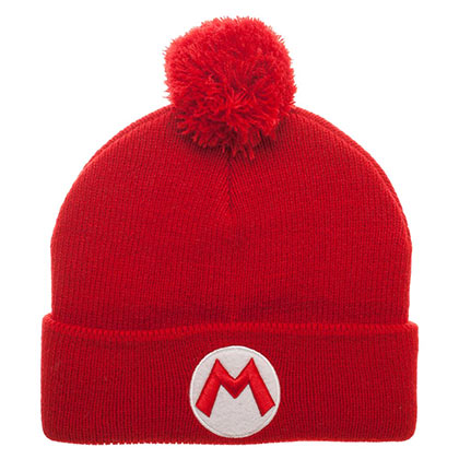 Nintendo Super Mario Bros. Logo Red Winter Pom Beanie
