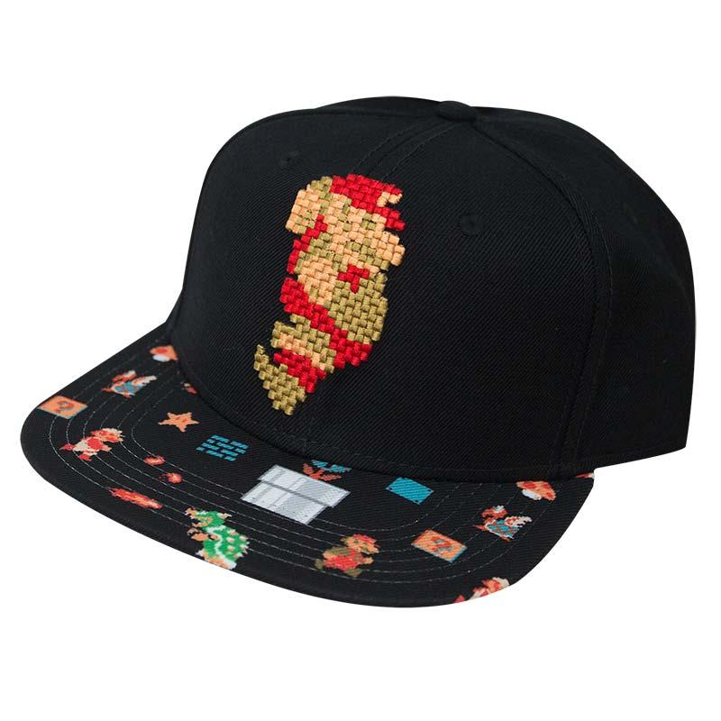 Super Mario Black Pixel Snapback Hat