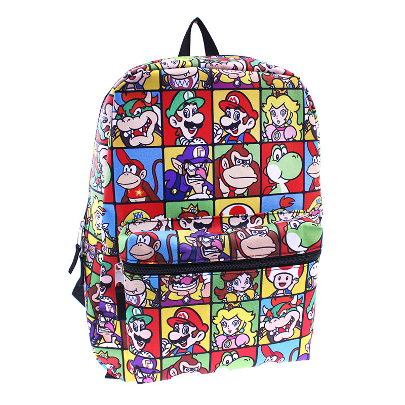 Super Mario Bros Square Character Print Backpack SuperheroDencom
