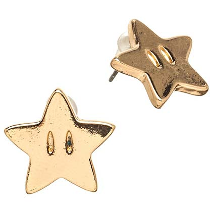Super Mario Bros. Gold Star Logo Stud Earrings