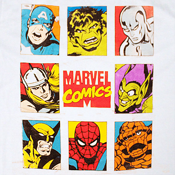 Marvel Comics Character Squares White T Shirt