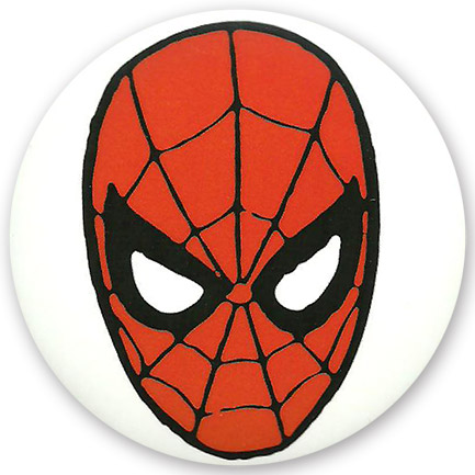 "Spiderman 3"" Head Button White"