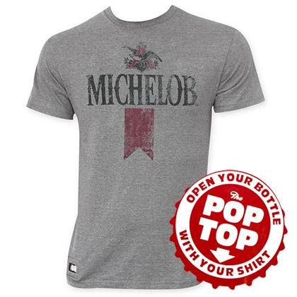 Michelob Men's Gray Retro Pop Top T-Shirt