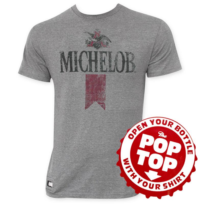 Michelob pop top vintage logo tee shirt for Vintage miller lite shirt
