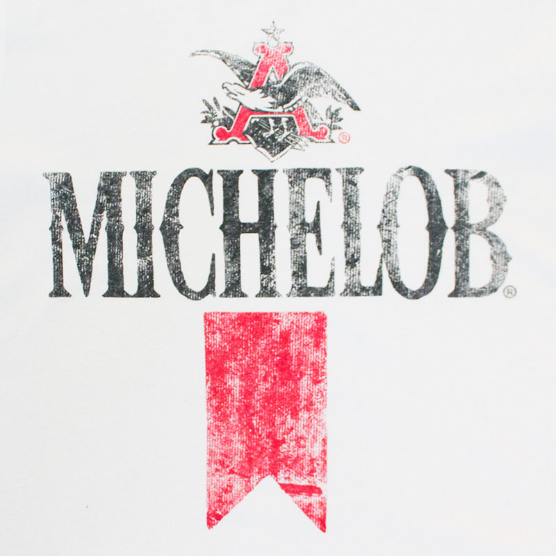 michelob mens white vintage beer logo tshirt