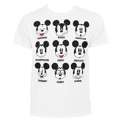 Mickey Mouse Men's White Expressions T-Shirt