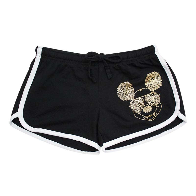 Mickey Mouse Ladies Black Gold Foil Beach Shorts