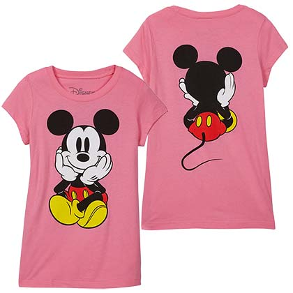 Mickey Mouse Front Back Print Youth Girls Pink TShirt