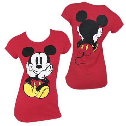 Mickey Mouse Front & Back Women's Red Tee Shirt