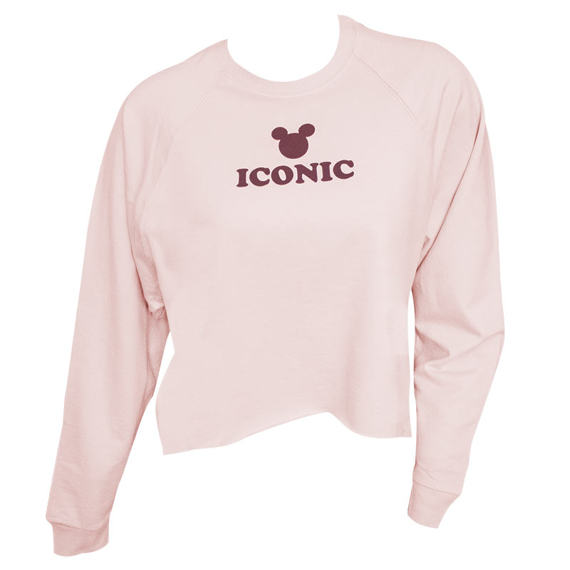 Mickey Mouse Iconic High Low Women's Pink Raglan Sweatshirt