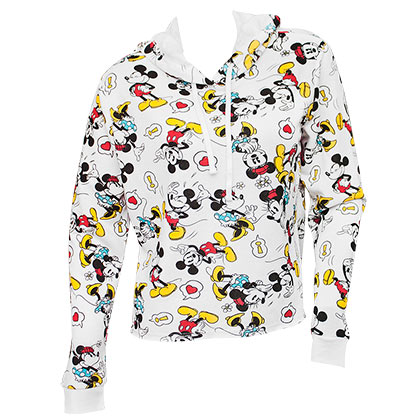 Mickey And Minnie Ladies White Crop Top Hoodie