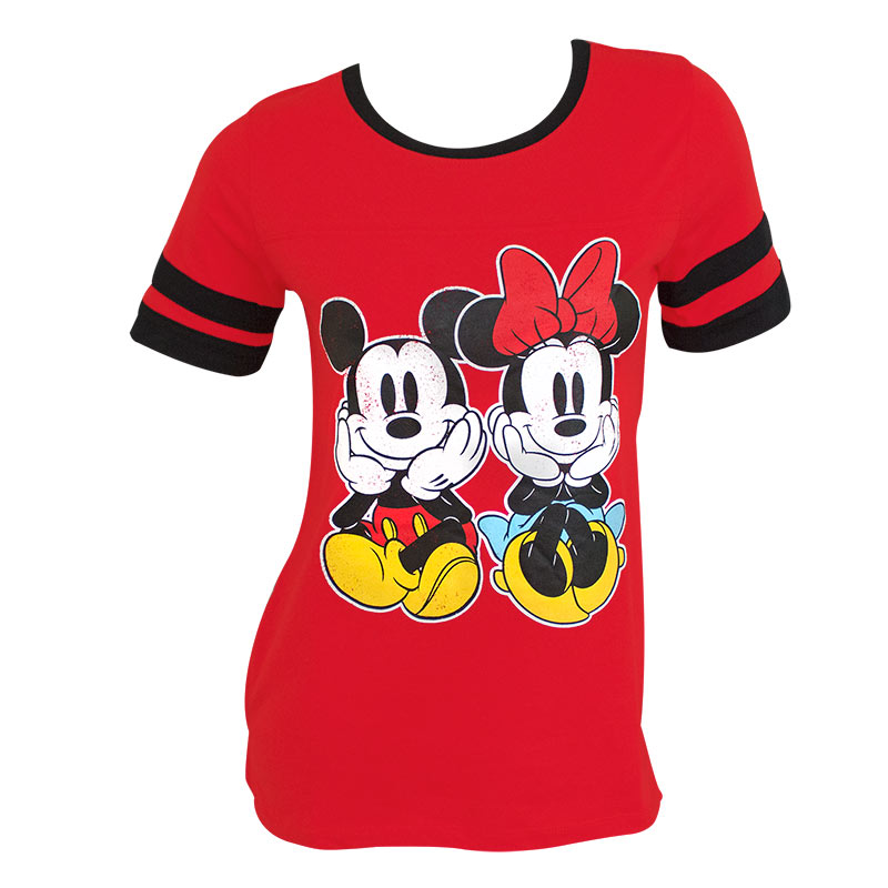 Mickey And Minnie Women's Red Jersey Tee Shirt