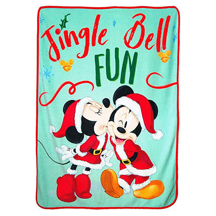 Mickey and Minnie Christmas Throw Fleece Blanket