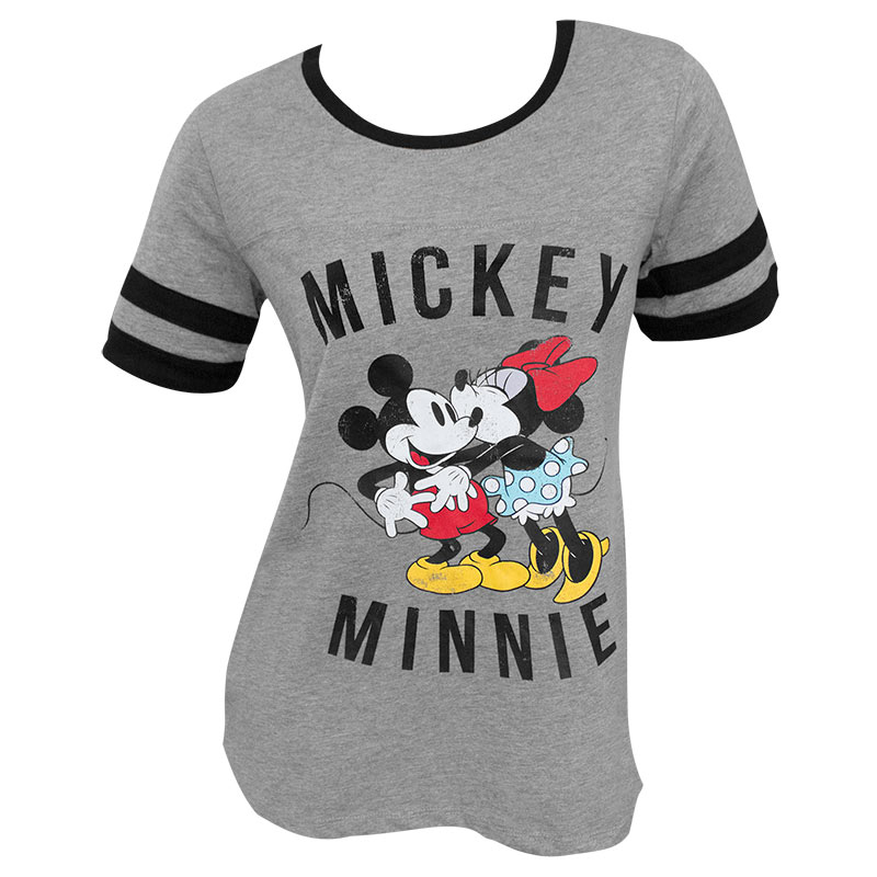 Mickey Minnie Mouse Kissing Women's Gray T-Shirt