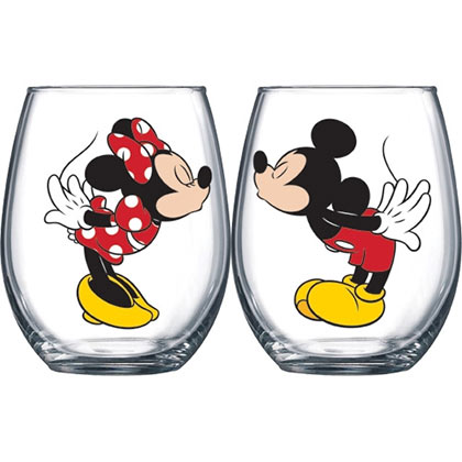 Mickey And Minnie Kissing 14.5 oz Wine Glass Set