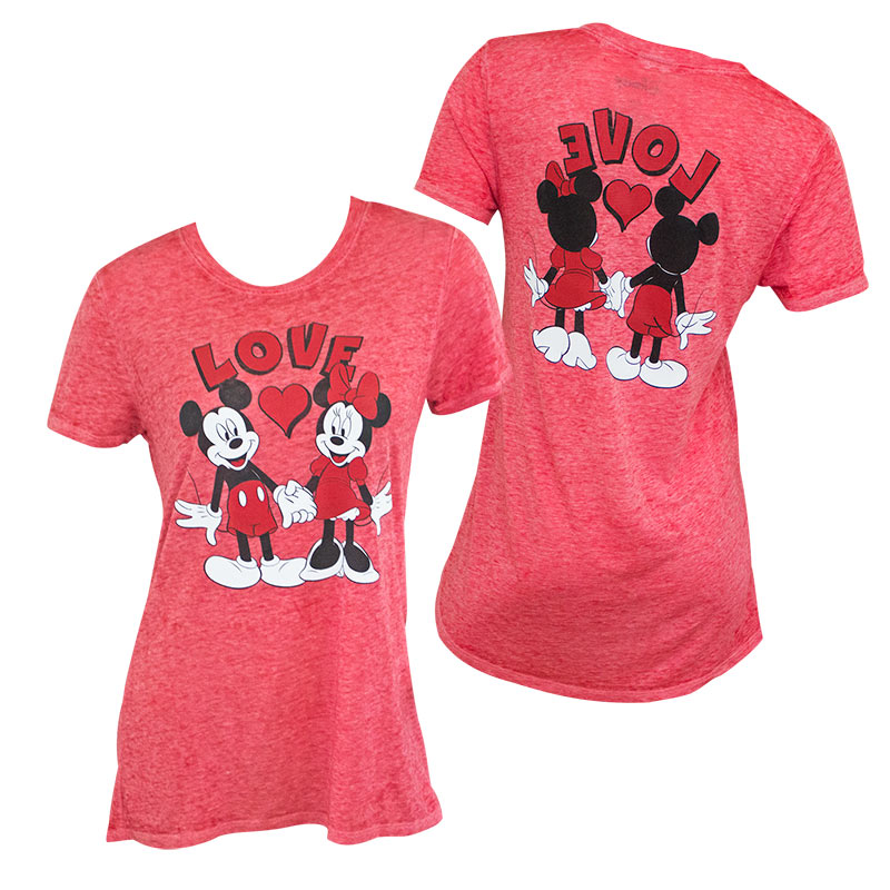 Mickey And Minnie Mouse Love Front Back Women's Red Tee Shirt