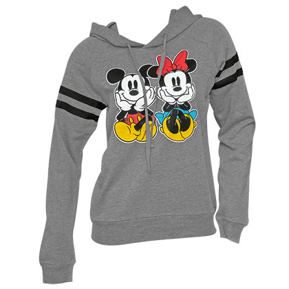 Mickey And Minnie Sitting Ladies Grey Hoodie