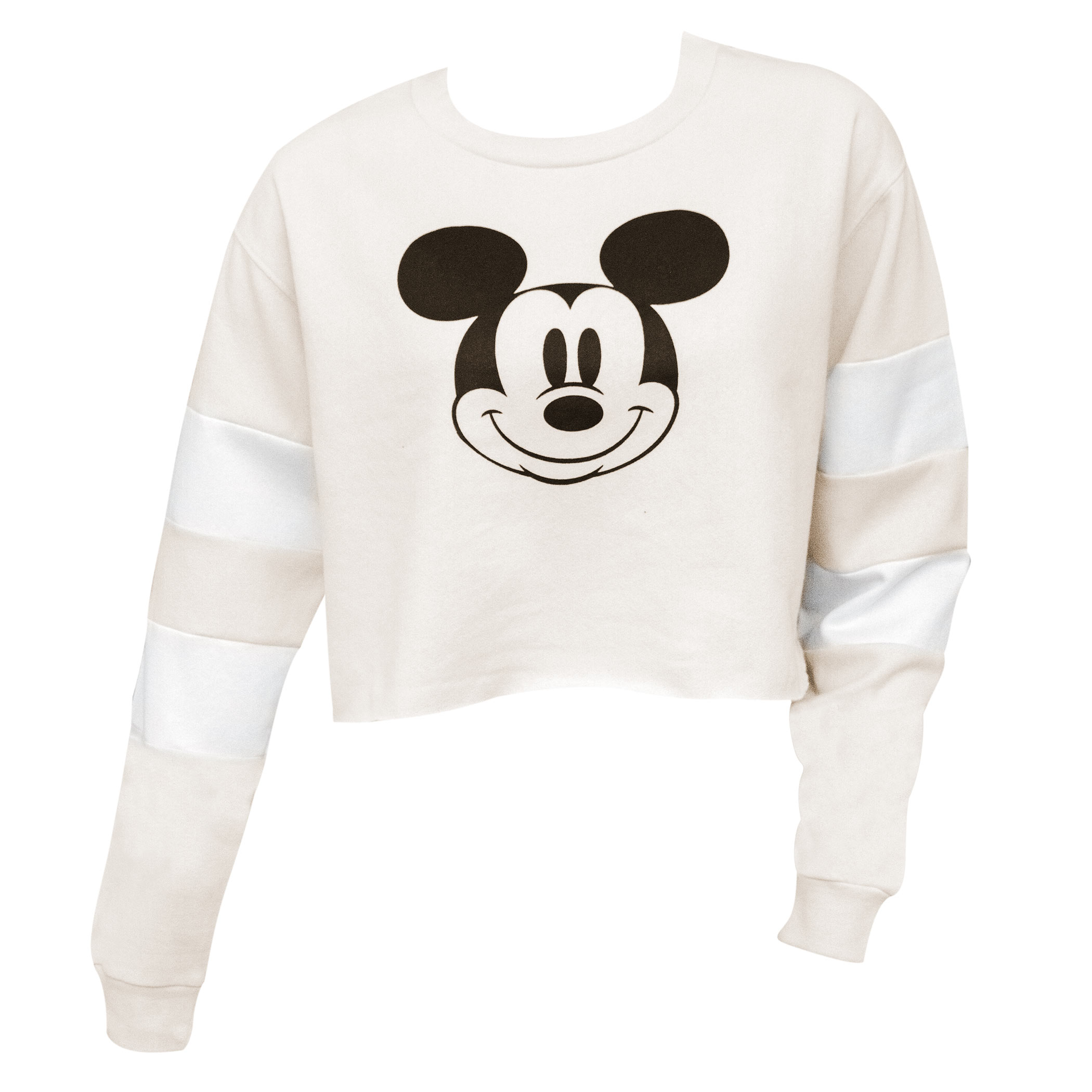 Mickey Mouse Off White Hockey Women's Cropped Sweatshirt