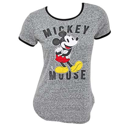 Mickey Mouse Classic Women's Gray Ringer Tee Shirt