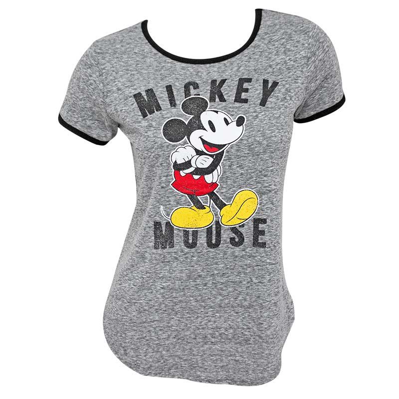 Mickey Mouse Classic Women's Grey Ringer T-Shirt