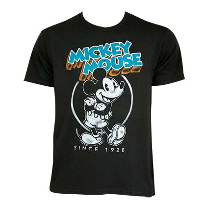 Mickey Mouse Men's Black Retro T-Shirt