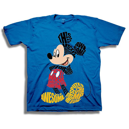 Mickey Mouse Youth Blue Typographic Art T-Shirt