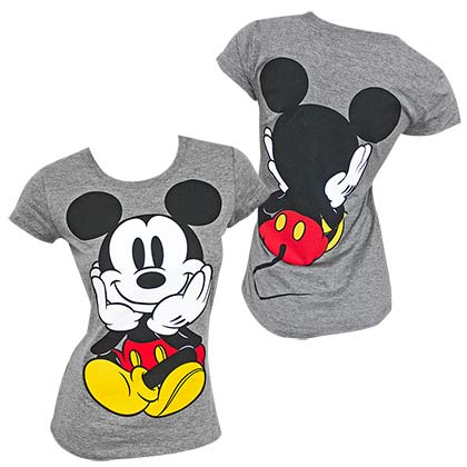 Mickey Mouse Double Sided Women's Gray T-Shirt
