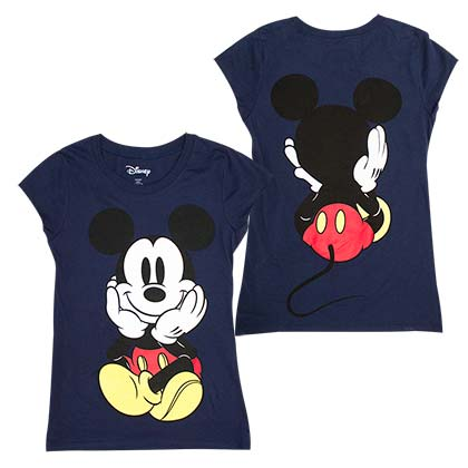 Mickey Mouse Front And Back Women's Blue Cap Sleeve T-Shirt