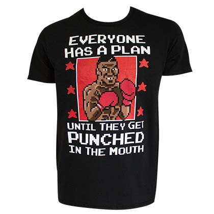 Mike Tyson's Punch-Out Plan Nintendo Men's Black Tee Shirt