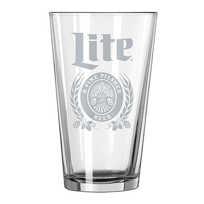 Miller Lite Etched Pint Glass