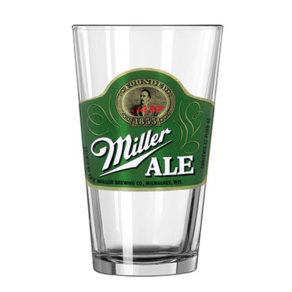 Miller Ale Green Vintage Pint Glass