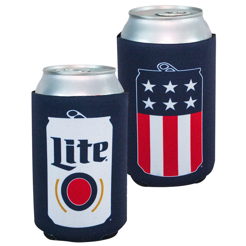 Miller Lite Patriotic Red White and Blue Can Cooler