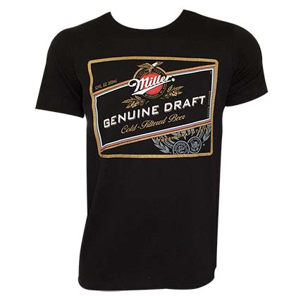 Miller Genuine Draft Men's Black Logo T-Shirt