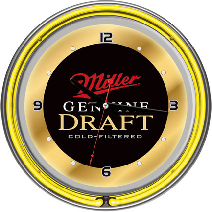Miller Genuine Draft Neon Wall Clock FREE SHIPPING - Black & Gold