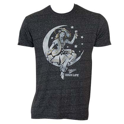 Miller High Life Men's Heather Grey Lady In The Moon T-Shirt