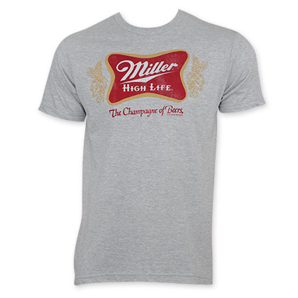 Miller High Life Classic Red Logo On Gray Tee Shirt