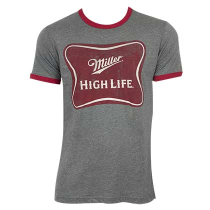 Miller High Life Men's Grey Ringer T-Shirt