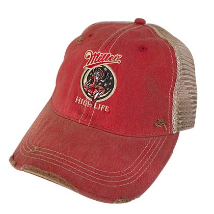 Miller High Life Girl In The Moon Retro Brand Premium Orange Men's Trucker Hat