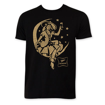 Miller High Life Moon Girl Black Tee Shirt
